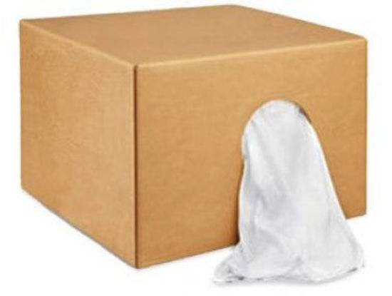 Picture of 25LB BOX OF WHITE T-SHIRT RAGS